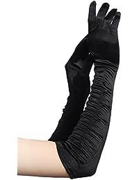 BABEYOND clásico largo Opera Pageant partido de los años 20 guantes de satén estirable tamaño adulto codo longitud de la muñeca 52 cm