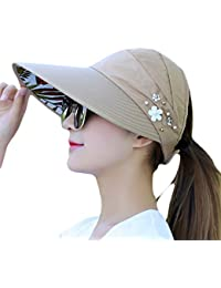 fced5850 Doitsa Woman Summer Cap Sun Hat Visor Cap Foldable Travel Outdoor Hat  Decorated with Flowers and