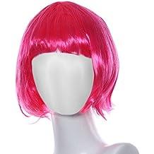 Ularma Peluca de Masquerade, rodillo pequeño Bang corta el pelo lacio (rosa)