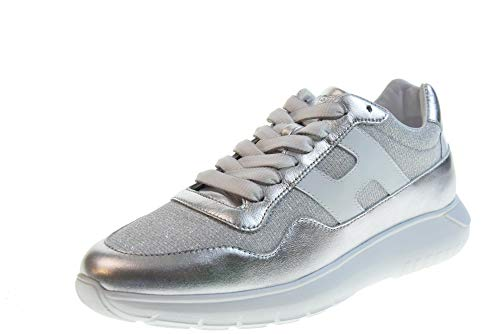 Hogan Scarpe Donna Sneakers Basse HXW3710AP31KWX0906 H371 INTERACTIVE3 Taglia 37 Argento-Bianco