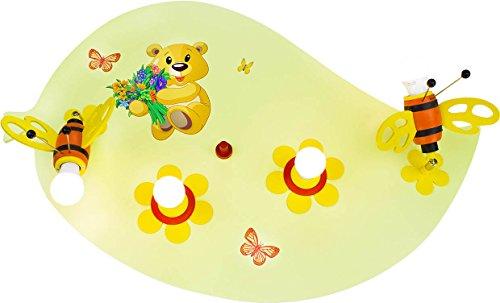 Bären-deckenleuchte (Elobra Kinder Lampe Blatt Teddy Bär Deckenleuchte Kinderzimmer Holz, lindgrün 131268)