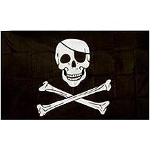Jolly Roger - Bandera pirata (calavera con parche) oferta especial 152.4cm x 91.44cm