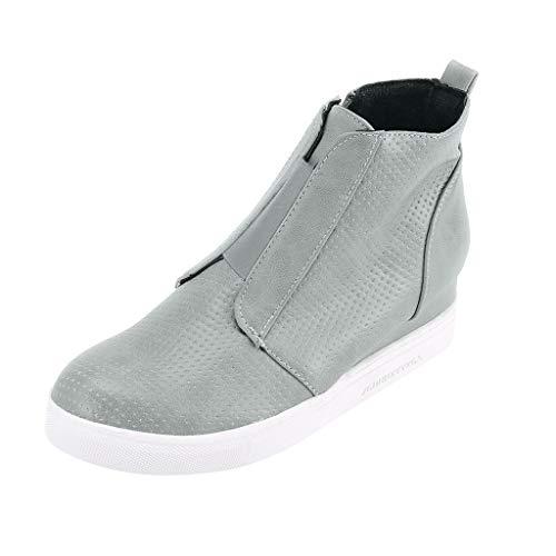 NMERWT Damen Stiefel Flats Wedges Round Toe rutschfeste Bequeme Dicke Boden Schuhe Frauen Booties Freizeitschuh Outdoor Stiefel mit Reißverschluss Hohe Schuhe
