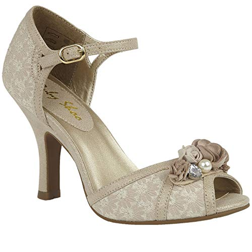 Ruby Shoo Clarissa Shimmering Cream & Gold Peep Toes UK 4