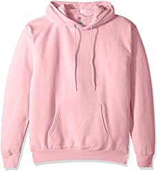 Hanes Mens Pullover Ecosmart Fleece Hooded Sweatshirt, Pale Pink, X Large