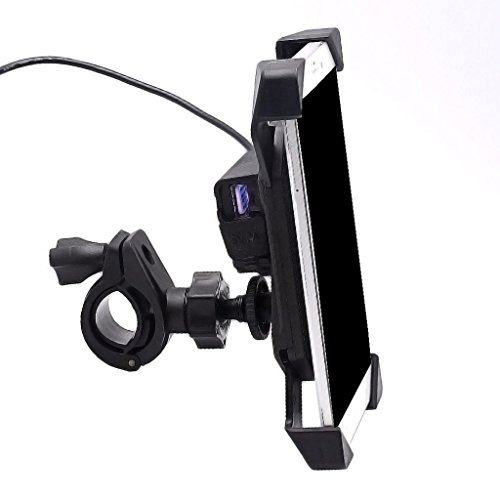ELECTROPRIME® Motorcycle Phone Mount GPS Suction Cup Magnetic Holder USB Cellphone Charger