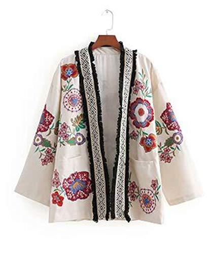 YHXMG Damen Jacke Frauen Blume Stickerei Strickjacke Lose Kimono Jacke Damen Quaste Spliced   Outwear Mantel Tops, Als Pic Ct091, L (North Rote Und Face Weiße Jacke)