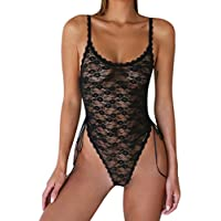 Fat.chot Women Lace Racy Muslin Bodysuit One Piece Nightwear Sexy Teddy Sleepwear Chemise See Through Jumpsuit For Sex Casual Everyday
