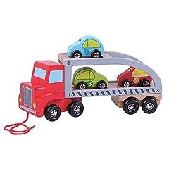 Idea Regalo - jumini AB4151in legno auto Carrier, rosso