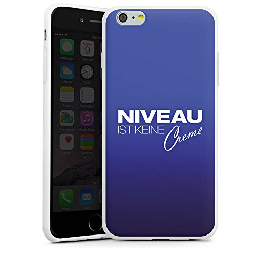 Apple iPhone X Silikon Hülle Case Schutzhülle Niveau Creme Spruch Silikon Case weiß
