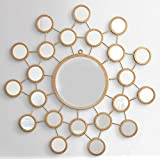 Furnish Craft Circular Shaped Unique Design Golden Glass Wall Mirror With Multi Small Mirrors (Size-27 X 27 Cm)
