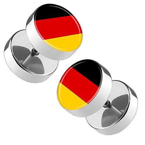 Piersando Ohrringe Fake Ohr Plug Flesh Tunnel Piercing Ohrstecker Stecker Stab Runde Platte Fussball EM & WM Länderflagge Fanartikel Land Flagge Deutschland