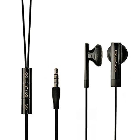 Original HTC Handy Stereo Headset XRC-E160X - - mit Anrufannahme und Mikrofon in Schwarz für kompatible HTC Mobiltelefone mit 3,5 mm Klinke Anschluss