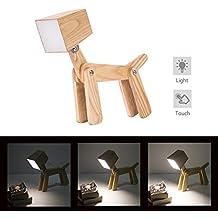 HROOME Modernas Regulable Lámpara de Mesa de Madera Tactil Perro Led Lamparas Mesilla de Noche para Salon Dormitorio Infantiles Niños