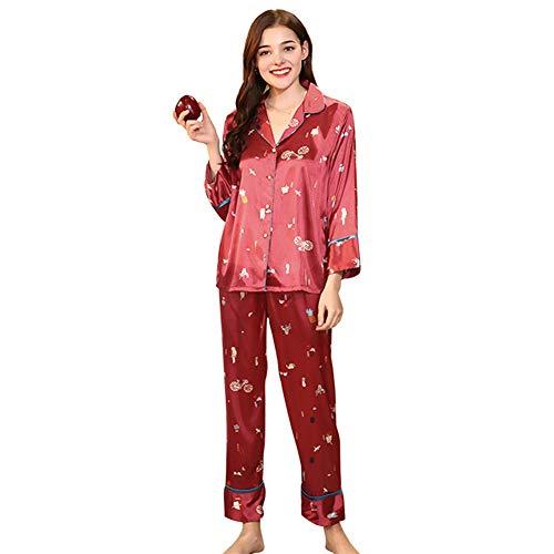 Abschnitt Kostüm Student - MEMIND Die neuen Pyjamas Frau Frühling koreanische Version lose Student Langarm-Hose weibliche tägliche dünne Abschnitt-Hauskleidung,XL