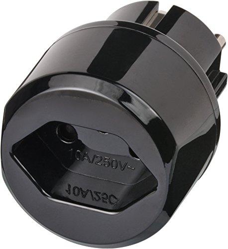 Brennenstuhl Reisestecker / Reiseadapter (Reise-Steckdosenadapter für: Euro Steckdose und Schweiz Stecker) Farbe: schwarz