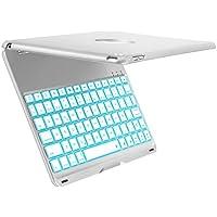 Funda con Teclado para iPad Air 2, iEGrow F8S+ 7 colores retroiluminados delgado teclado de aluminio Bluetooth Español QWERTY (con Ñ letra) con la cubierta protectora de la carcasa para iPad Air 2