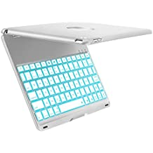 Funda de Teclado iPad Air 2 para iPad Air 2 Modelo A1566 / A1567, iEGrow Funda de Teclado Bluetooth Clamshell Delgada con 7 Colores LED Retroiluminada(Plata)