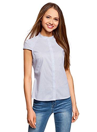 Button-down-raglan-Ärmel (oodji Ultra Damen Bluse aus Baumwolle mit Kurzen Ärmeln, Blau, DE 36 / EU 38 / S)
