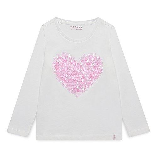 ESPRIT Mädchen Langarmshirt RK10233, Weiß (Off White 110), 128 (Herstellergröße: 128+)