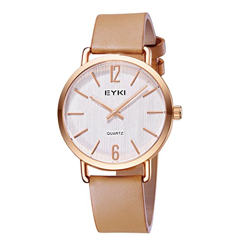 Damen-Armbanduhr Leder Braun/Rosegold E1078M