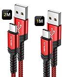 JSAUX Câble USB C, (1+2M,Lot de 2) Chargeur Type C en Charge Rapide Ultra Résistant...