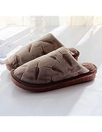 GFLD Zapatillas de Estar por casa otoño Invierno Pluma Engrosamiento Caliente Inferior Gruesa Felpa algodón Zapatos de s de Piso Varonil casa Anti…