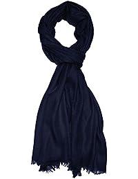 Lorenzo Cana Italian Scarf Pashmina 100% Cashmere Shawl 79'' x 27'' Dark Blue 7831111