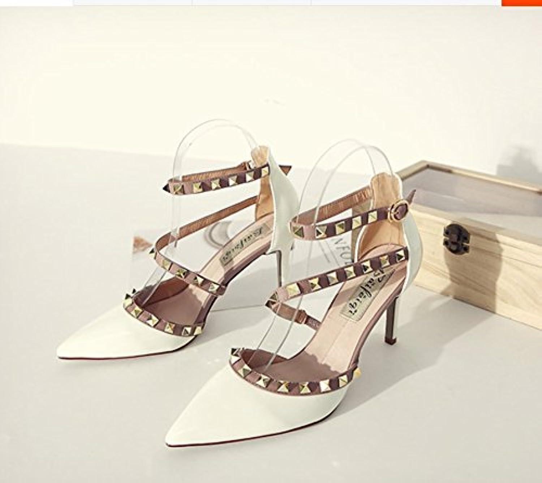 Mera Color Rivet hochhackige Guantes para un par de zapatos con clavos, white (8 cm], 39