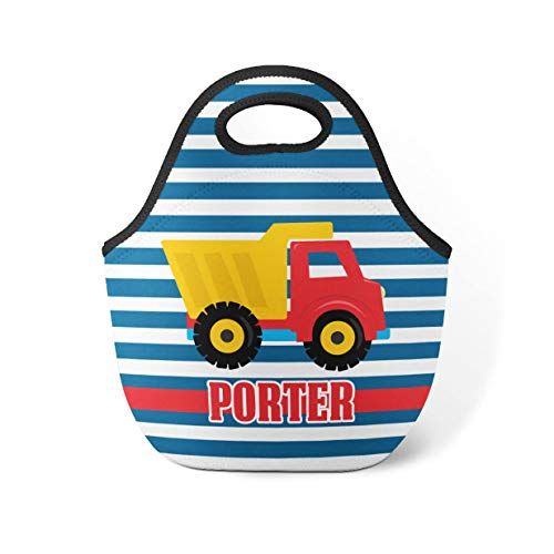 Construction Truck Personalized Lunch Tote Dump Truck Lunch Bag Red Truck Neoprene Lunch Tote Bag You Pick Truck Kid Personalized Gift (Truck Red Dump)
