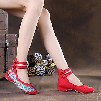 """Confortevole ed elegante piatto scarpe donna Appartamenti Primavera Estate Autunno Inverno Comfort """" espadrilles """" Tessuto outdoor casual tacco piatto fibbia fiore Nero Blu Rosso Bianco a piedi White"""
