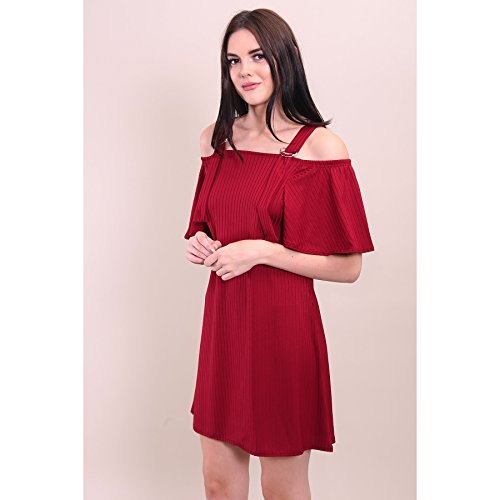 Ladies Buckle Strap Cold Shoulder côtelé Robe trapèze EUR Taille 36-42 Du vin