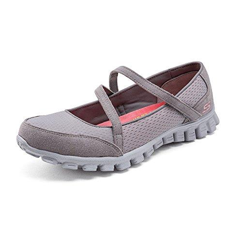 Leder-walking-mary Janes (Skechers Ez Flex 2 A Game, Damen Mary Jane Halbschuhe  Grau Gris (Gycl) 39)