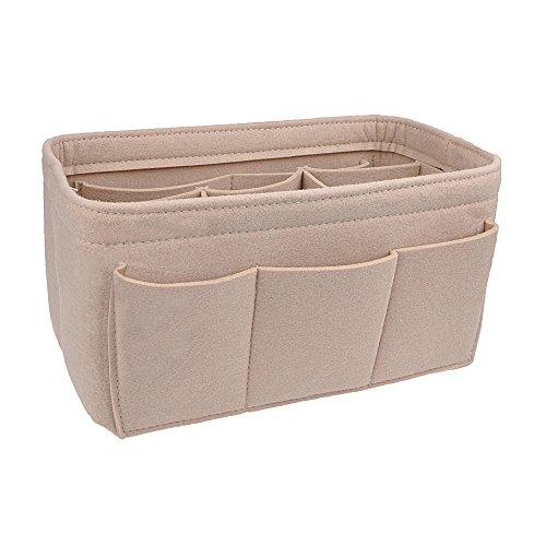 Coach Handtaschen Zubehör (apsoonsell Filz Handtasche rutschsicher für Frauen, Tasche Organizer einfügen Handtasche, Beige, Mittel (26 x 16 x 15 cm))