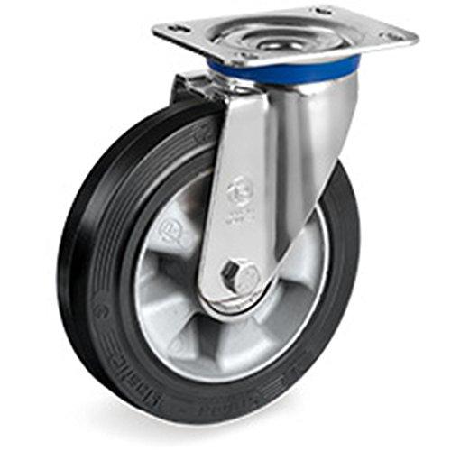 Schwerlast 500 Kg Gewicht (Lenkrolle Gummi Rad 200 mm mit Kugellager Alufelge Schwerlast Lenkrolle)