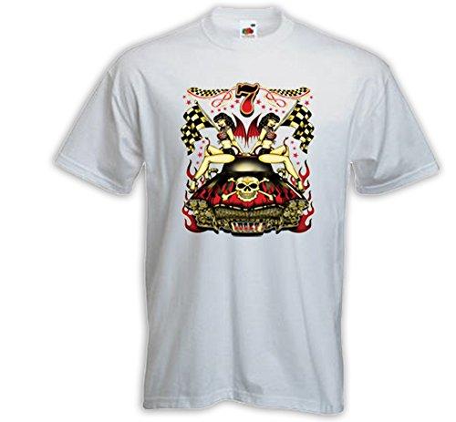 Rockabilly T-Shirt Lucky 7 Hot Rod weiß Zündkerze Biker Pinup V8 Weiß