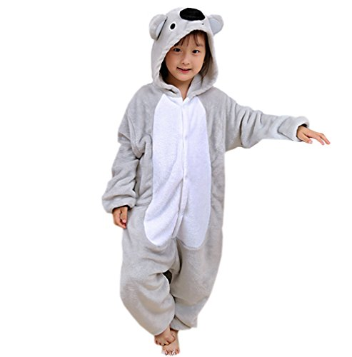 ECHERY Unisex-Kinder Jumpsuit Pyjamas Cartoon Nachtwäsche Tier Cosplay Kostüm Koala