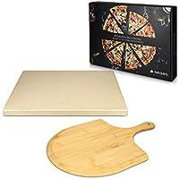 Navaris Pietra Refrattaria per Cottura Pizza - per Cuocere nel Forno di Casa Pane Pizze - Teglia Rettangolare 38x30cm Cordierite 800° con Pala bambù