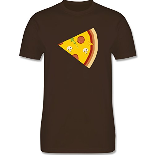 Shirtracer Partner-Look Pärchen Herren - Pizza Pärchenmotiv Teil 2 - Herren T-Shirt Rundhals Braun