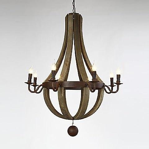 ZHY 8 cabezas Vintage americano colgante de madera rústica lámpara de araña de barril de vino y Liviing Lámpara Dormitorio