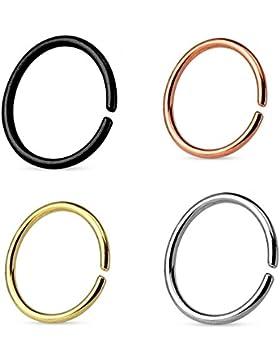 CONTINUOUS RING Piercing 4er SET SEAMLESS RING   NASENRING PIERCING   FAKE PIERCING   zum biegen   EDELSTAHL Ring