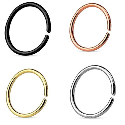 CONTINUOUS RING | SEAMLESS RING | O-RING | 4er SET | NASENRING PIERCING | FAKE PIERCING | zum biegen | EDELSTAHL Ring 0.8 x 6 mm | Gold | Rosé | Schwarz | Silber -