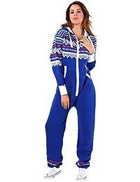 40d96d0342b4 Crazy Girls Womens Aztec Print Onesie Ladies Hooded All in One Fleece  Jumpsuit