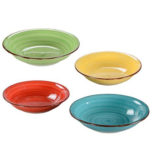 Suppenteller Keramikteller Porzellanteller Pastateller Salatteller Bunt Uni 4er-Set