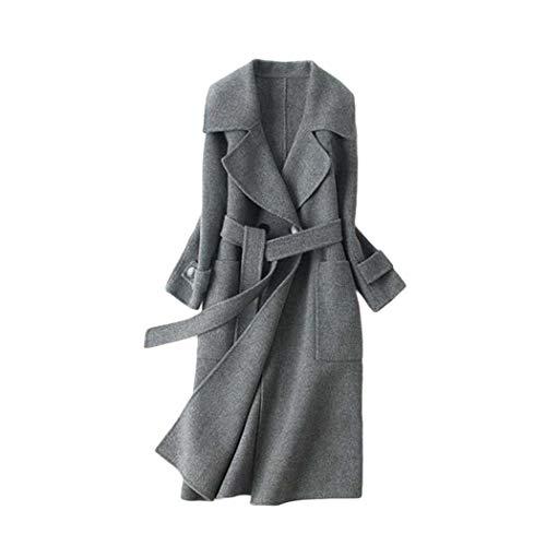 Cashmere Classic Mantel (Herbst Und Winter Neue Doppelseitige Cashmere Wollmantel Frauen Plus Lange Wolle Zweireiher Damen Mantel Fleecejacke Fashion Classic Stylish Outfit (Gray,L))