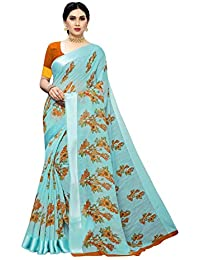 Anni Designer Women's Rama Color Linen Cotton Satin Patta Flower Printed Saree With Blouse Piece (BANI RAMA_Free Size)