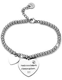 cbc5d41bbbae Beloved ❤ Bracelet en acier pour femme portant l inscription en italien   français non