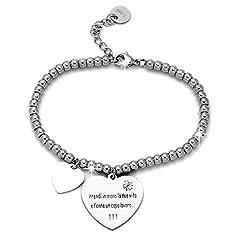 Idea Regalo - Beloved ❤️ Braccialetto da donna, bracciale in acciaio emozionale - frasi, pensieri, parole con charms - ciondolo pendente - misura regolabile - incisione - argento (MOD 6)