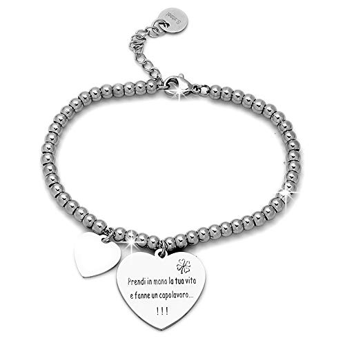 Beloved  Braccialetto da donna, bracciale in acciaio emozionale - frasi, pensieri, parole con charms - ciondolo pendente - misura regolabile - incisione - argento (MOD 6)