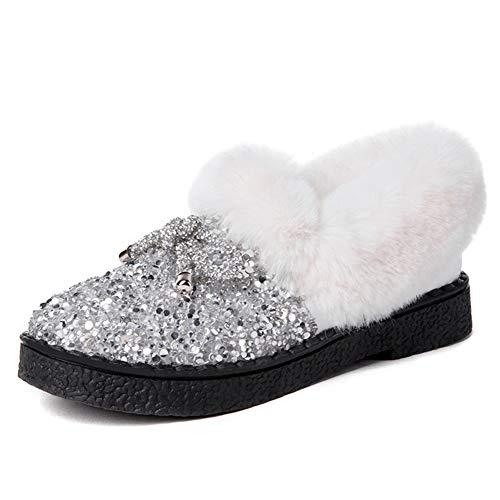 Frauen Halten Warme Mokassins Schuhe Winter PlüSch Bling Glitter Runde Zehe Slip On Pailletten Tuch Weibliche Wohnungen Pelz MüßIggäNger